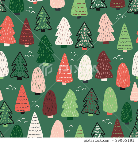 Christmas trees vector background. Seamless pattern hand drawn doodle trees. Decorative holiday 59005193