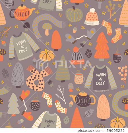 Winter hygge elements seamless vector pattern. Cute background teapot, wool sweater, hat, mittens 59005222