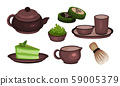 Tea Ceremony Vector Icons Set. Chinese Mate Drinking Process 59005379
