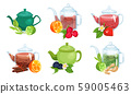 Different Types of Tea Poured in Various Teapots Made of Different Materials Vector Set 59005463