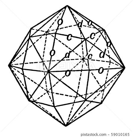 Hexoctahedron, vintage illustration. 59010165