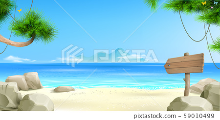 Wide tropical beach banner background 59010499