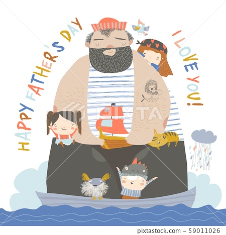 Big father sailing with children and animals at their ship 59011026