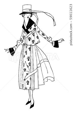 Dress long ribbon vintage engraving. 59011623