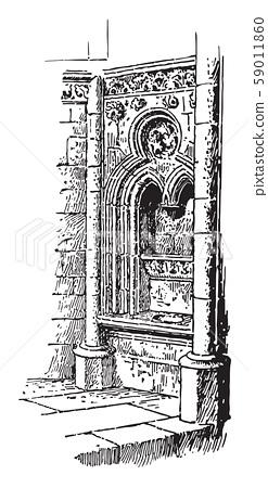 Fenestella in the Church of Norrey, vintage 59011860