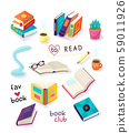 Colorful open and closed books icon set, hobby, reading and education, cups with coffee or tea 59011926