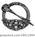 Round Brooch is a circular design, vintage 59011944