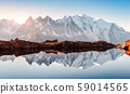 Sunny day on Lac Blanc lake in France Alps 59014565