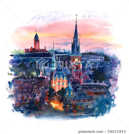 Watercolor of Gothenburg, Sweden 59015953