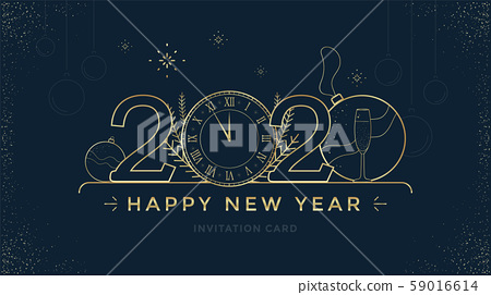 Happy New Year 2020 greeting card design template 59016614