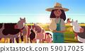 milkwoman holding pail with fresh milk female farmer standing near herd of cows grazing on grassy 59017025