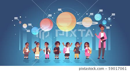 female teacher with african american schoolchildren in observatory solar system exploration school 59017061