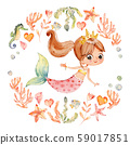 Mermaid Watercolor Surrounded by Frame of sea elements, Sea Horse, corals, bubbles, seashells 59017851