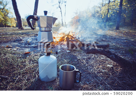bonfire and geyser coffee maker in the foreground 59020200