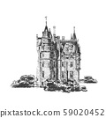 Medieval castle isolated on white background. Graphic drawing. Vector 59020452