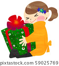 Illustration of a girl who is overjoyed with a Christmas present (hand-drawn style without lines) 59025769