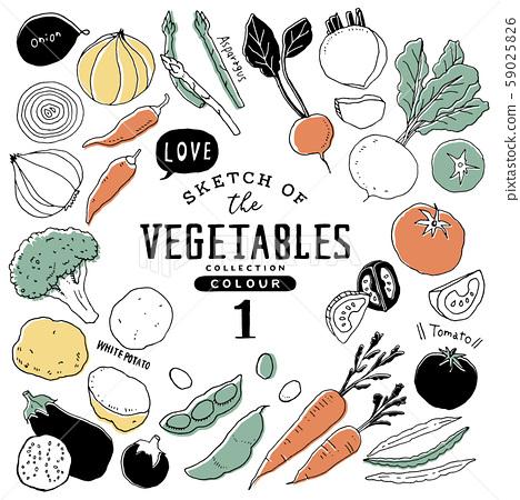 簡約時尚手繪蔬菜套裝01 /多彩 59025826