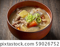 Miso soup with pork and vegetables 59026752