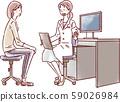 진찰실 여의사와 여자 환자 59026984