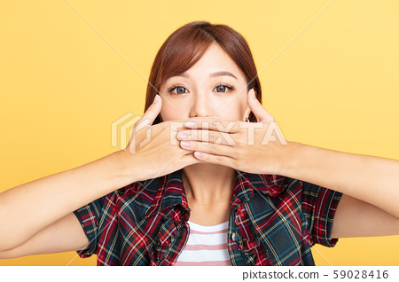young asian woman  hands cover mouth 59028416