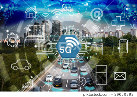 5G, 사물인터넷 컨셉 합성 59030595