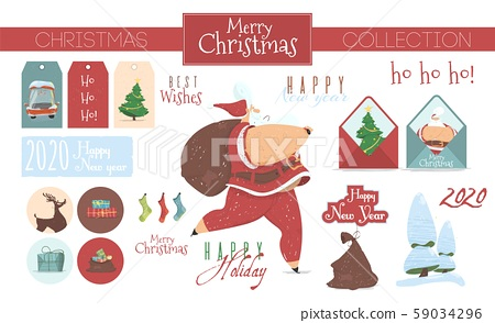 Festive Collection of Christmas Elements Isolated 59034296