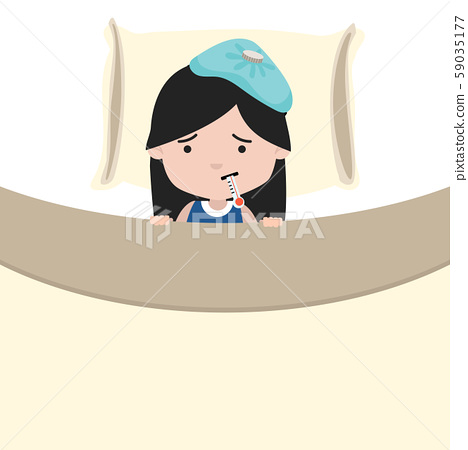Sick little girl with thermometersick in bed 59035177