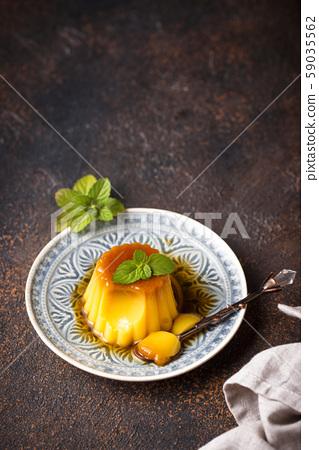 Flan or creme caramel dessert 59035562