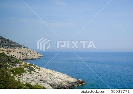 coast of the Mediterranean Sea. The shore is 59035771