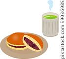 Dorayaki and green tea on a plate 59036985