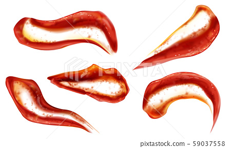 Ketchup splashes set top view, tomato sauce blobs 59037558