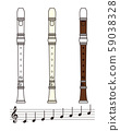 Set of recorders and musical notes vector illustration 59038328