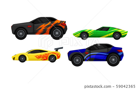 Side Viewed Colorful Sport Cars Vector Set 59042365