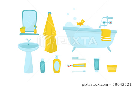 Different Bathroom Objects Isolated On White Stock Illustration 59042521 Pixta