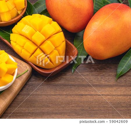 芒果水果設計夏季天台台灣鮮芒果平躺芒果切芒果 59042609