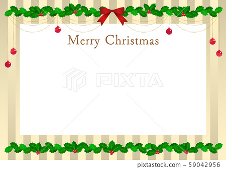 Holly_illustration_frame_vector_holly_christmas_leaves_green_ribbon 59042956