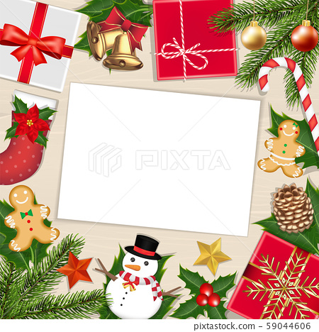white paper on wood board with chrismas object 59044606