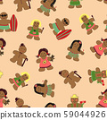 Seamless pattern Christmas cookies gingerbread men and women decorated with funny icing costumes 59044926