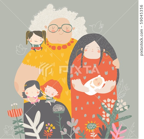 Three generations of women of different ages from child to young adult mother and senior grandmother 59045356