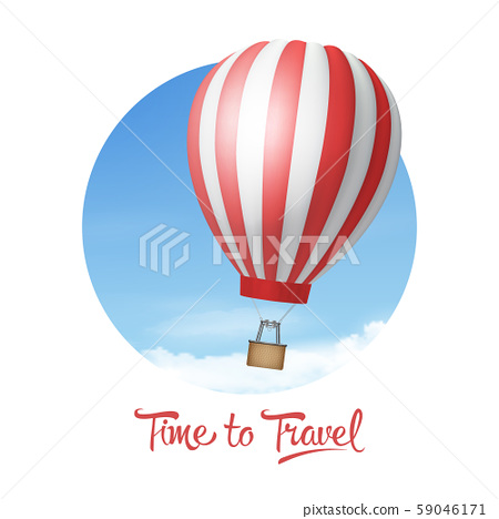 Vector 3d Realistic Red and White Hot Air Balloon on Blue Sky Background. Time to Travel. Design 59046171