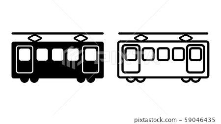 火车铁路简单图标图素材黑色和白色 59046435