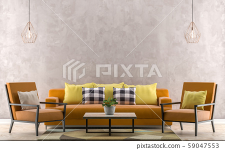 Orange sofa with yellow pillows. Empty wall in 59047553