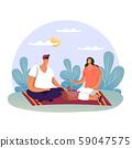 Family at summer picnic or man and woman at date 59047575