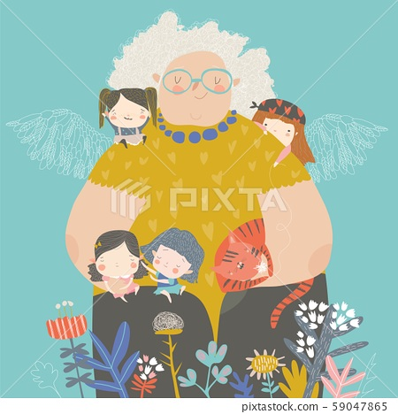Cute cartoon grandmother hugging their grandchildren in flowers 59047865