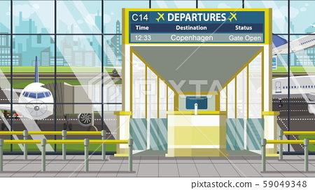 Airport terminal. Departure board above the gate with Copenhagen text. Travel to Denmark cartoon 59049348