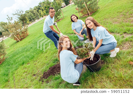 Volunteering. Young people volunteers outdoors planting together smiling happy 59051152
