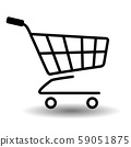 Black simple flat shopping cart or trolley icon. 59051875