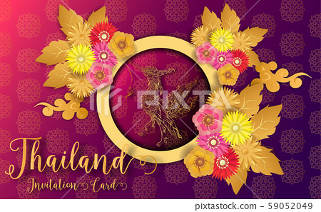 Thailand ancient Luxury concept .Thai traditional style.vector illustration for Travel in Thailand.poster,greeting card, party invitation,banner,brochure,other use 59052049