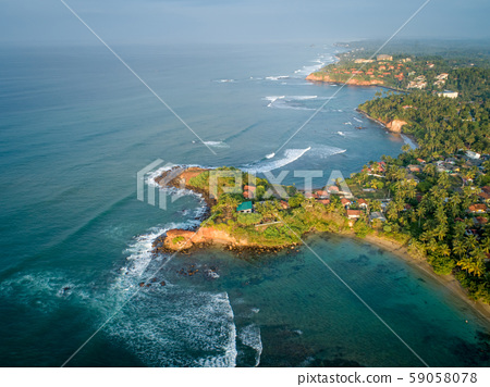 Aerial view of beautiful seascape with fisherman 59058078
