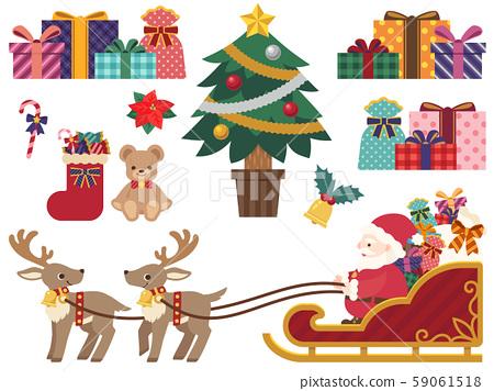 聖誕節插圖集(雪橇馴鹿,聖誕老人,樹,禮物) 59061518